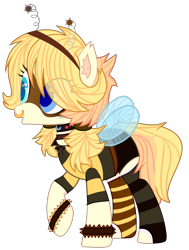 Size: 1541x2041 | Tagged: safe, artist:celestial-rue0w0, artist:tocyabases, oc, oc only, oc:busy buzz (ice1517), bee pony, original species, pony, base used, bowtie, choker, clothes, collar, commission, deely bobbers, female, mare, mask, mismatched socks, nose piercing, nose ring, open mouth, piercing, raised hoof, shirt, shorts, simple background, socks, solo, striped socks, transparent background, wristband