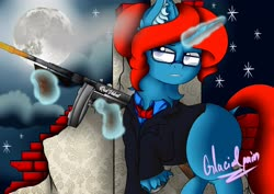 Size: 4096x2896 | Tagged: safe, artist:glacialpain, oc, oc:red velvet, pony, unicorn, fallout equestria, bowtie, clothes, cloud, fallout, glasses, gun, magic, moon, shooting, simple background, smoke, stars, suit, tommy gun, weapon