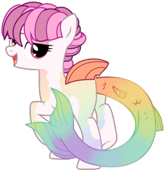 Size: 1236x1295   Tagged: safe, artist:celestial-rue0w0, artist:klewgcg, oc, oc only, oc:prism marine, pony, sea pony, base used, bedroom eyes, commission, eyeshadow, female, makeup, mare, markings, open mouth, raised hoof, raised leg, simple background, solo, transparent background