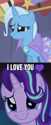 Size: 592x1440 | Tagged: safe, edit, edited screencap, screencap, starlight glimmer, trixie, boast busters, uncommon bond, caption, female, image macro, lesbian, meme, shipping, shipping domino, startrix, text