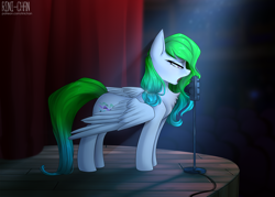 Size: 2800x2000 | Tagged: safe, artist:rinikka, oc, oc only, oc:aurora wing, pegasus, concert hall, crying, female, mare, microphone, patreon, patreon reward, singing, stage, standing