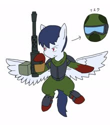 Size: 1802x2048 | Tagged: safe, artist:omegapony16, oc, oc only, oc:oriponi, pegasus, pony, armor, flying, gas mask, gun, hoof hold, male, mask, simple background, solo, spread wings, stallion, weapon, white background, wings