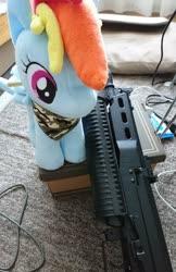 Size: 1326x2048 | Tagged: safe, artist:omegapony16, rainbow dash, pegasus, pony, 4de, airsoft, camouflage, female, gun, irl, mare, neckerchief, photo, plushie, pp-19, solo, submachinegun, weapon
