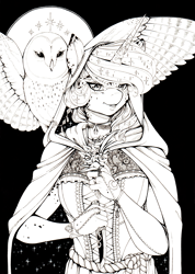 Size: 2465x3455 | Tagged: safe, artist:longinius, princess luna, alicorn, bird, owl, anthro, alternate hairstyle, bracelet, choker, cloak, clothes, female, flower, freckles, grayscale, hood, horn, horn ring, jewelry, knife, lace, looking at you, mare, monochrome, mottled coat, ribbon, snowy owl, spread wings, traditional art, wings