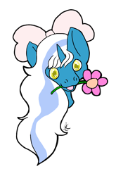 Size: 666x1007 | Tagged: safe, artist:coyoteheart, oc, oc:fleurbelle, alicorn, alicorn oc, bow, female, flower, hair bow, mare, mouth hold, simple background, transparent background, wingding eyes, yellow eyes