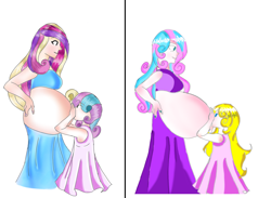 Size: 1212x888 | Tagged: safe, artist:bunnyviolet218, princess cadance, princess flurry heart, oc, human, age progression, belly, child, female, humanized, mama cadence, mama flurry, mother and child, mother and daughter, multiple pregnancy, offspring, offspring's offspring, parent:oc:shimmering glow, parent:princess flurry heart, parents:canon x oc, pregnant