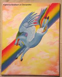 Size: 716x886   Tagged: safe, artist:katriona-seallach, rainbow dash, oil painting, rainbow, traditional art
