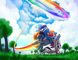 Size: 6000x4588 | Tagged: safe, artist:dimfann, part of a set, misty fly, rainbow dash, rarity, soarin', spitfire, pegasus, pony, unicorn, series:pony re-watch, sonic rainboom (episode), absurd resolution, clothes, cloud, eyes closed, female, flying, goggles, male, mare, passed out, rainbow trail, scene interpretation, sonic rainboom, stallion, tree, underhoof, uniform, wonderbolts, wonderbolts uniform
