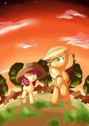 Size: 724x1023 | Tagged: safe, artist:araiiara123, apple bloom, applejack, accessory swap, apple, applejack's hat, cowboy hat, fence, food, hat, tree