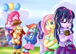 Size: 1023x724 | Tagged: safe, artist:araiiara123, applejack, fluttershy, pinkie pie, rainbow dash, rarity, sci-twi, twilight sparkle, equestria girls, accessory theft, applejack's hat, balloon, cowboy hat, equestria girls logo, floating, hat, humane five, humane six, then watch her balloons lift her up to the sky