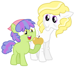 Size: 1280x1152 | Tagged: safe, artist:bounswetie, artist:xxmidnightmuffinxx, surprise, oc, oc:custard cake, pony, base used, female, filly, golden apple, older, simple background, transparent background