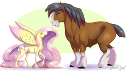 Size: 1920x1080 | Tagged: safe, artist:jessopal, fluttershy, trouble shoes, troubleshoes clyde, earth pony, pegasus, pony, colored wings, colored wingtips, crack shipping, eye contact, female, hoers, large wings, long mane, looking at each other, male, mare, missing cutie mark, shipping, size difference, stallion, straight, troubleshy, unshorn fetlocks, wings