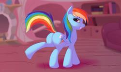 Size: 2500x1496 | Tagged: safe, artist:skipsy, edit, rainbow dash, pegasus, pony, butt, explicit source, female, golden oaks library, looking at you, mare, plot, rainbutt dash, raised leg, safe edit, sexy, sfw edit, smiling, smirk, solo, stupid sexy rainbow dash