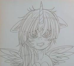 Size: 1731x1534   Tagged: safe, twilight sparkle, alicorn, pony, anime, cute, sad, sketch, traditional art, twilight sparkle (alicorn)