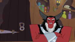Size: 1920x1080 | Tagged: safe, screencap, lord tirek, the summer sun setback, spoiler:s09e17, angry, bracer, cute, grumpy, madorable, nose piercing, nose ring, piercing, solo, tirebetes, tirek is not amused
