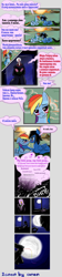 Size: 879x3914 | Tagged: artist needed, safe, rainbow dash, oc, human, pegasus, pony, blush sticker, blushing, canon x oc, comic, cyrillic, dialogue, dream, female, full moon, kissing, lesbian, moon, russian, shipping, translated in the comments