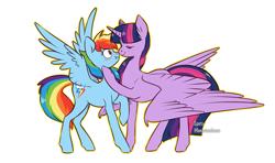 Size: 1200x711 | Tagged: safe, artist:spetu, rainbow dash, twilight sparkle, alicorn, pegasus, pony, blushing, boop, female, lesbian, mare, noseboop, shipping, simple background, twidash, twilight sparkle (alicorn), white background