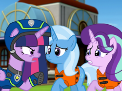 Size: 1440x1080 | Tagged: safe, artist:徐詩珮, starlight glimmer, trixie, twilight sparkle, alicorn, series:sprglitemplight diary, series:sprglitemplight life jacket days, series:springshadowdrops diary, series:springshadowdrops life jacket days, alternate universe, angry, base used, chase (paw patrol), clothes, female, lifejacket, paw patrol, spy chase (paw patrol), twilight sparkle (alicorn)