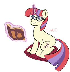 Size: 780x792 | Tagged: safe, artist:shooting star, moondancer, pony, unicorn, book, canon, magic, pillow, solo