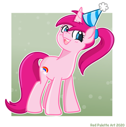 Size: 1239x1245 | Tagged: safe, artist:redpalette, oc, oc only, unicorn, birthday, female, hat, mare, party hat, pink, smiling