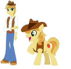 Size: 678x655 | Tagged: safe, artist:diana173076, braeburn, human, pony, equestria girls, alternate universe, equestria girls-ified, human ponidox, self ponidox