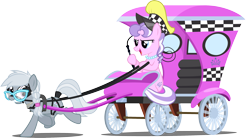 Size: 1280x707 | Tagged: safe, artist:silly-yellow-pone, diamond tiara, silver spoon, earth pony, pony, blinders, bridle, harness, horses doing horse things, horses doing human things, older, older diamond tiara, older silver spoon, reins, simple background, tack, tail wrap, taxi, transparent background, whip