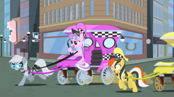 Size: 1280x719 | Tagged: safe, artist:silly-yellow-pone, diamond tiara, silver spoon, oc, oc:checker, earth pony, pony, blinders, bridle, city, harness, horses doing horse things, horses doing human things, older, older diamond tiara, older silver spoon, reins, tack, tail wrap, taxi, whip