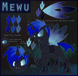 Size: 2000x1947 | Tagged: safe, artist:amura-of-jupiter, oc, oc only, oc:mewu, changeling, blue changeling, changeling oc, commission, fangs, guide, horn, male, male changeling, raised hoof, reference sheet, solo, wings
