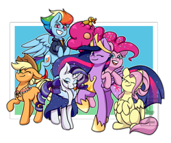 Size: 5000x4173 | Tagged: safe, artist:cleoziep, applejack, fluttershy, pinkie pie, rainbow dash, rarity, twilight sparkle, alicorn, earth pony, pegasus, pony, unicorn, the last problem, spoiler:s09e26, abstract background, absurd resolution, candy, candy in hair, clothes, colored pupils, cowboy hat, cute, ear fluff, eyes closed, female, flying, food, grey hair, group, happy, hat, jacket, mane six, mare, older, older applejack, older fluttershy, older mane 6, older pinkie pie, older rainbow dash, older rarity, older twilight, one eye closed, open mouth, rubber duck, scarf, smiling, twilight sparkle (alicorn), wink