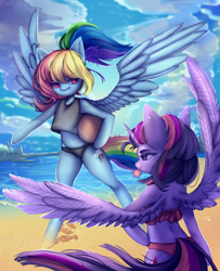 Size: 1920x2366 | Tagged: safe, artist:cosyosy, rainbow dash, twilight sparkle, alicorn, pegasus, semi-anthro, alternate hairstyle, arm hooves, beach, beach ball, belly button, bikini, bubblegum, clothes, cloud, duo, ear piercing, earring, female, food, gum, jewelry, mare, midriff, ocean, piercing, pigtails, ponytail, sand, summer, swimsuit, twilight sparkle (alicorn), water