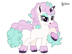 Size: 2501x1876 | Tagged: safe, artist:gutovi, galarian ponyta, pony, ponyta, colored hooves, colored horn, crossover, curly hair, curly mane, curly tail, hoof fluff, horn, pokémon, ponified, simple background, transparent background