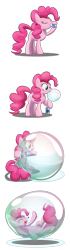 Size: 1800x6400 | Tagged: safe, artist:bladedragoon7575, pinkie pie, earth pony, pony, blowing bubbles, bubble, bubble solution, comic, cute, diapinkes, drinking, encasement, female, happy, heart, in bubble, mare, pinkie being pinkie, pinkie physics, sequence, simple background, soap bubble, transparent background, vector