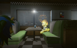 Size: 1680x1050 | Tagged: safe, artist:modocrisma, oc, oc only, oc:bitwise, oc:lightningbeat, pegasus, pony, unicorn, 3d, car, chair, chromatic aberration, clothes, diner, drink, female, food, gmod, hoodie, lens flare, lonely, male, mare, neon, plant, plate, restaurant, sad, scarf, sitting, soda, soda can, stallion, sushi, table, truck, vehicle, video game, walking, window