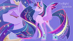 Size: 1920x1080   Tagged: safe, artist:xigege, twilight sparkle, alicorn, pony, the last problem, spoiler:s09e26, bust, cloven hooves, colored pupils, crown, duality, eyes closed, female, jewelry, looking at you, older, older twilight, peytral, portrait, princess twilight 2.0, profile, purple background, rainbow power, regalia, simple background, solo, spread wings, twilight sparkle (alicorn), wings