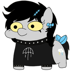 Size: 500x500 | Tagged: safe, artist:toyminator900, oc, oc only, oc:lightning dee, pegasus, pony, bow, choker, clothes, female, mare, shirt, simple background, solo, spiked choker, spiked wristband, squatpony, style emulation, tail bow, transparent background, wingless, wristband