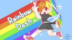 Size: 650x366 | Tagged: safe, artist:eggmilkyeahroar, rainbow dash, human, blue background, converse, cute, dashabetes, female, humanized, open mouth, rainbow, shoes, simple background, sneakers, solo, visor, winged humanization, wings