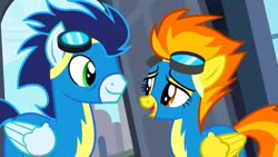 Size: 1280x720 | Tagged: safe, screencap, soarin', spitfire, pegasus, pony, rarity investigates, clothes, duo, female, goggles, male, stallion, uniform, wonderbolts, wonderbolts uniform