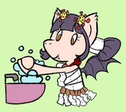 Size: 903x807 | Tagged: safe, artist:amynewblue, oc, oc:corona chan, bat pony, pony, coronavirus, covid-19, female, irony, mare, ponified, povid-19