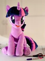 Size: 768x1024 | Tagged: safe, artist:nekokevin, twilight sparkle, pony, unicorn, female, frog (hoof), irl, looking at you, mare, open mouth, photo, plushie, raised hoof, scissors, sitting, smiling, solo, underhoof, unicorn twilight