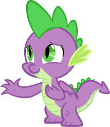 Size: 5187x5939 | Tagged: safe, artist:memnoch, spike, dragon, male, simple background, solo, transparent background, vector, waving, winged spike