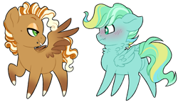 Size: 1024x589 | Tagged: safe, artist:azure-art-wave, oc, oc only, oc:cinnamon spice, pegasus, pony, blushing, chibi, magical lesbian spawn, male, offspring, parent:cherry jubilee, parent:spitfire, simple background, stallion, transparent background, wing hands, wings