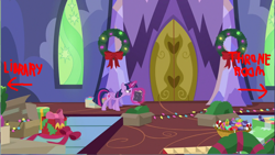 Size: 1285x725 | Tagged: safe, edit, edited screencap, screencap, twilight sparkle, alicorn, pony, best gift ever, book, box, candy, candy cane, christmas wreath, food, main hall, ornament, solo, twilight sparkle (alicorn), twilight's castle, wreath