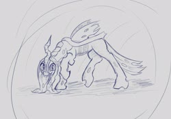 Size: 3177x2208 | Tagged: safe, artist:stink111, queen chrysalis, changeling, changeling queen, female, sketch, solo