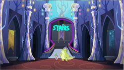 Size: 1285x725 | Tagged: safe, edit, edited screencap, screencap, sludge (dragon), spike, dragon, father knows beast, solo, stairs, twilight's castle