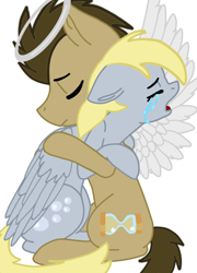 Size: 708x986 | Tagged: safe, artist:cococandy2007, derpy hooves, doctor whooves, time turner, earth pony, pegasus, pony, angel, crying, doctorderpy, eyes closed, feels, female, halo, hug, implied death, male, mare, open mouth, sad, shipping, simple background, sitting, stallion, straight, white background