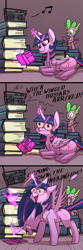 Size: 1200x3600 | Tagged: safe, artist:underpable, spike, twilight sparkle, alicorn, dragon, pony, :t, belly fluff, blushing, book, chest fluff, comic, cute, devil horn (gesture), dilated pupils, dork, duo, facepalm, faic, feather, female, fluffy, glowing eyes, glowing horn, hand, headbang, horn, magic, magic hands, majestic as fuck, male, mare, messy mane, nose wrinkle, open mouth, ponyloaf, prone, radio, rock, sabaton, shrunken pupils, smiling, song reference, spread wings, telekinesis, twiabetes, twilight sparkle (alicorn), underhoof, wide eyes, wing fluff, winged hussar, winged hussars, wings