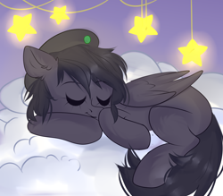 Size: 4000x3500 | Tagged: safe, artist:tosha_papuru0404, oc, oc:mir, pegasus, pony, absurd resolution, beret, cloud, fluffy tail, hat, missing cutie mark, on a cloud, sleeping, sleeping on cloud, sleepy, stars