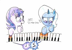 Size: 1024x716 | Tagged: safe, artist:gafelpoez, starlight glimmer, trixie, pony, female, lesbian, musical instrument, pessoa, piano, shipping, startrix