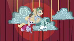 Size: 2000x1124 | Tagged: safe, screencap, cloud kicker, crescent pony, mane moon, spring melody, sprinkle medley, pegasus, pony, hearth's warming eve (episode), background pony, clothes, cloud, dress, female, flying, frown, laurel wreath, male, mare, pegasus tribe, play, rope, stallion, trio
