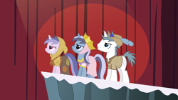 Size: 2000x1122   Tagged: safe, screencap, minuette, orion, sea swirl, seafoam, shooting star (character), pony, unicorn, hearth's warming eve (episode), background pony, clothes, crown, feather, feathered hat, female, frown, hat, hood, jewelry, looking up, male, mare, patches, play, regalia, shirt, stallion, trio, unicorn tribe